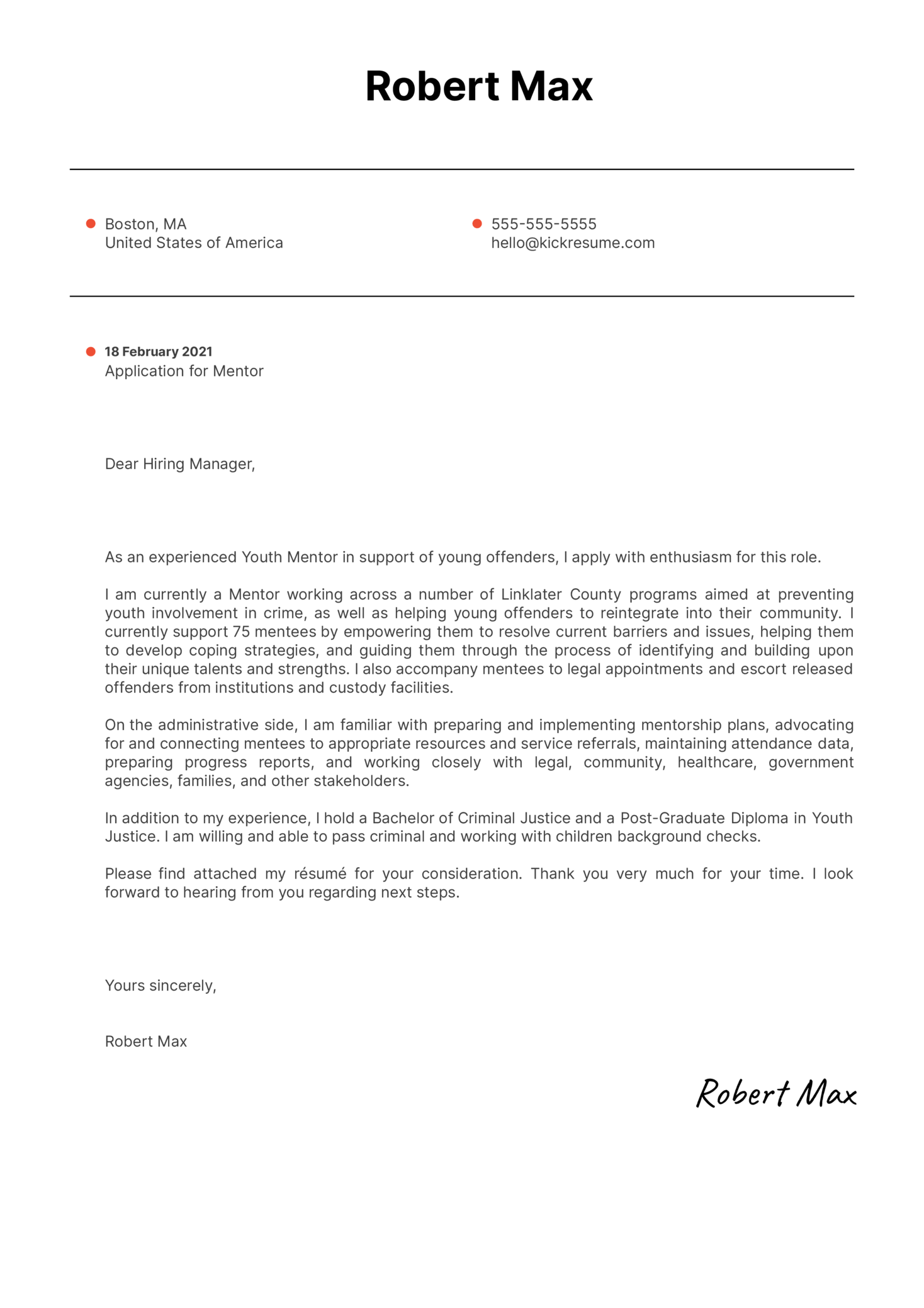 Mentor Cover Letter Sample