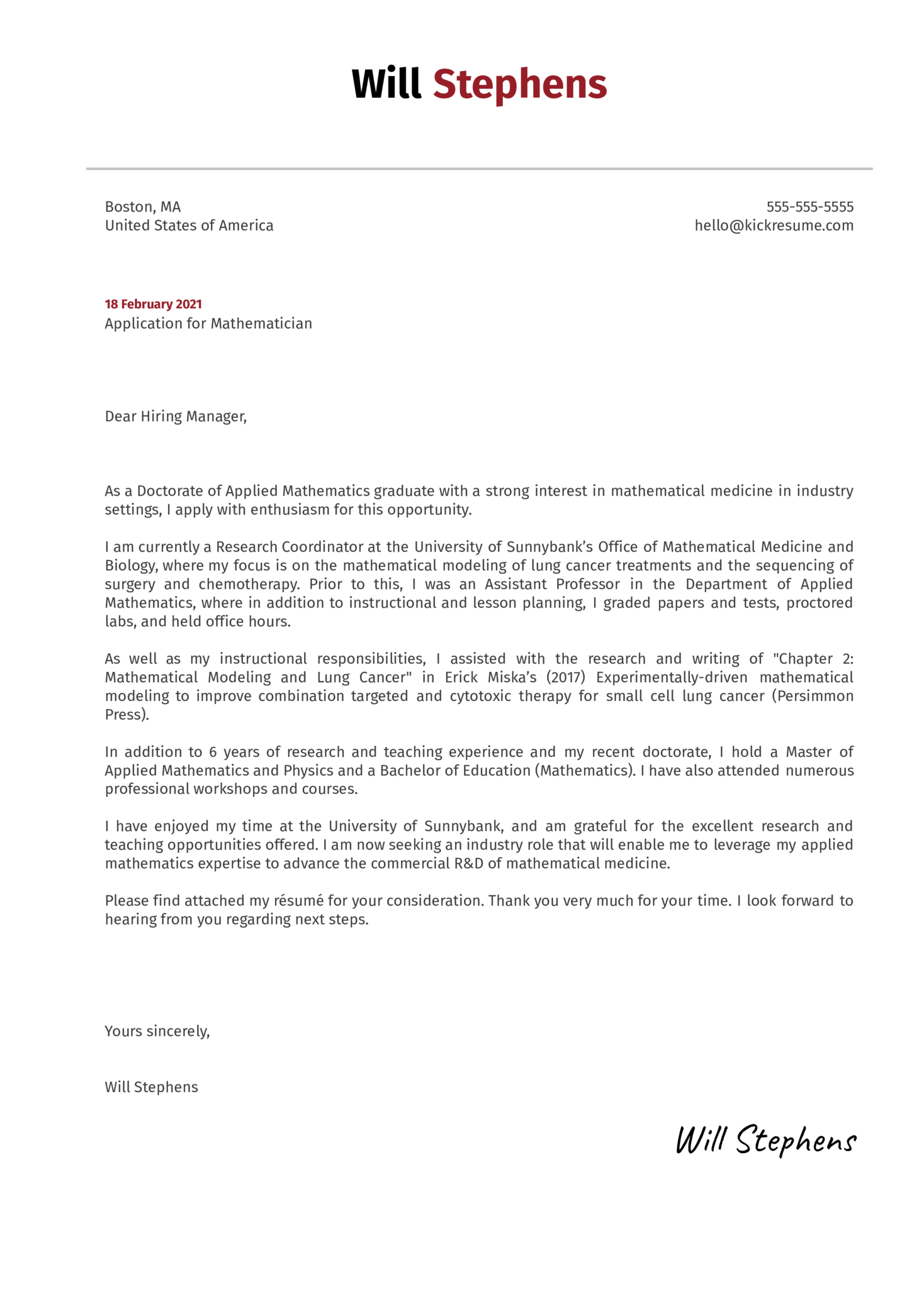 Mathematician Cover Letter Example
