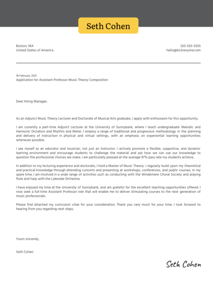 Assistant Professor Music Theory Composition Cover Letter Sample