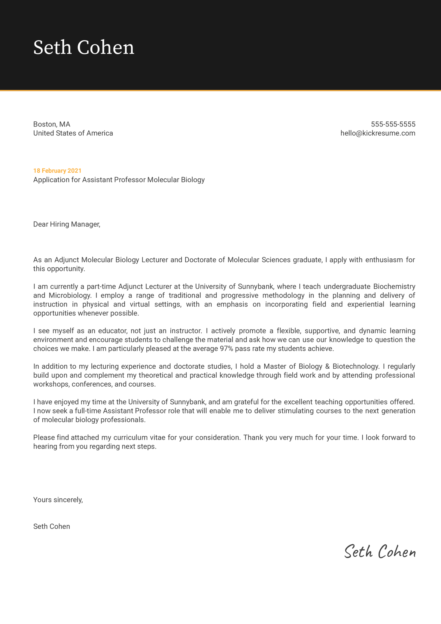 Assistant Professor Molecular Biology Cover Letter Template