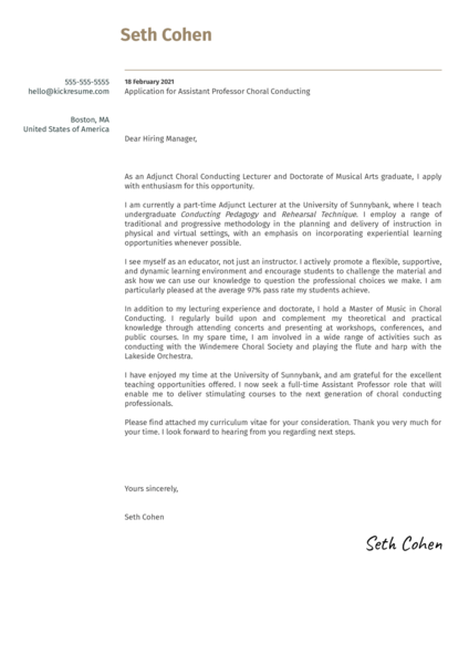 Assistant Professor Choral Conducting Cover Letter Sample