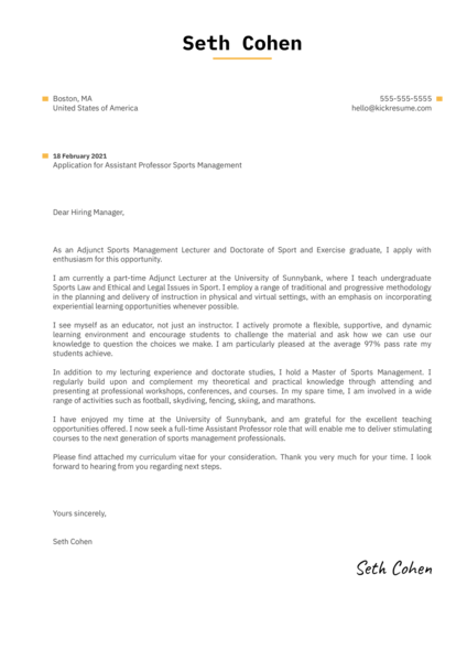 Assistant Professor Sports Management Cover Letter Sample