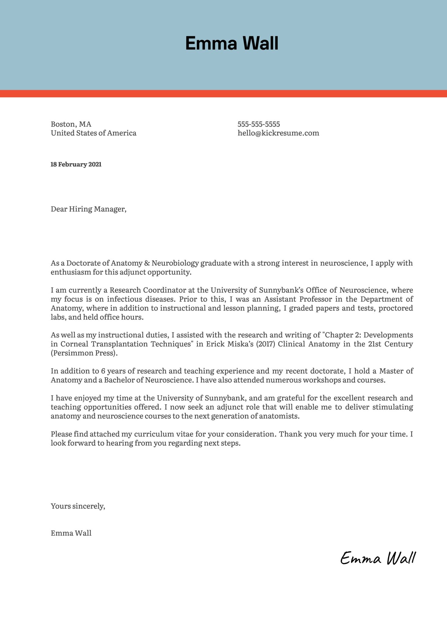 Adjunct Faculty Anatomy Cover Letter Sample