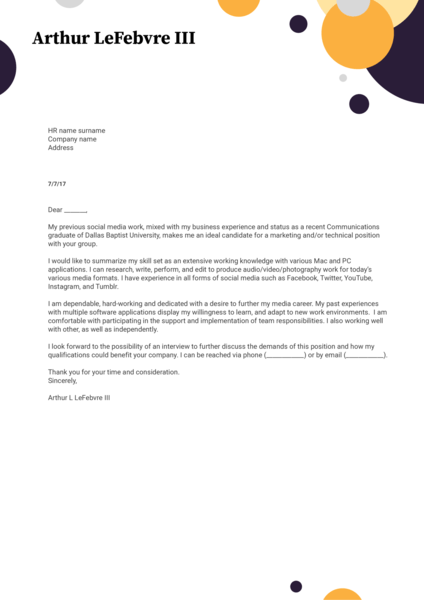 Marketing / PR Cover Letter Samples from Real Professionals Who got