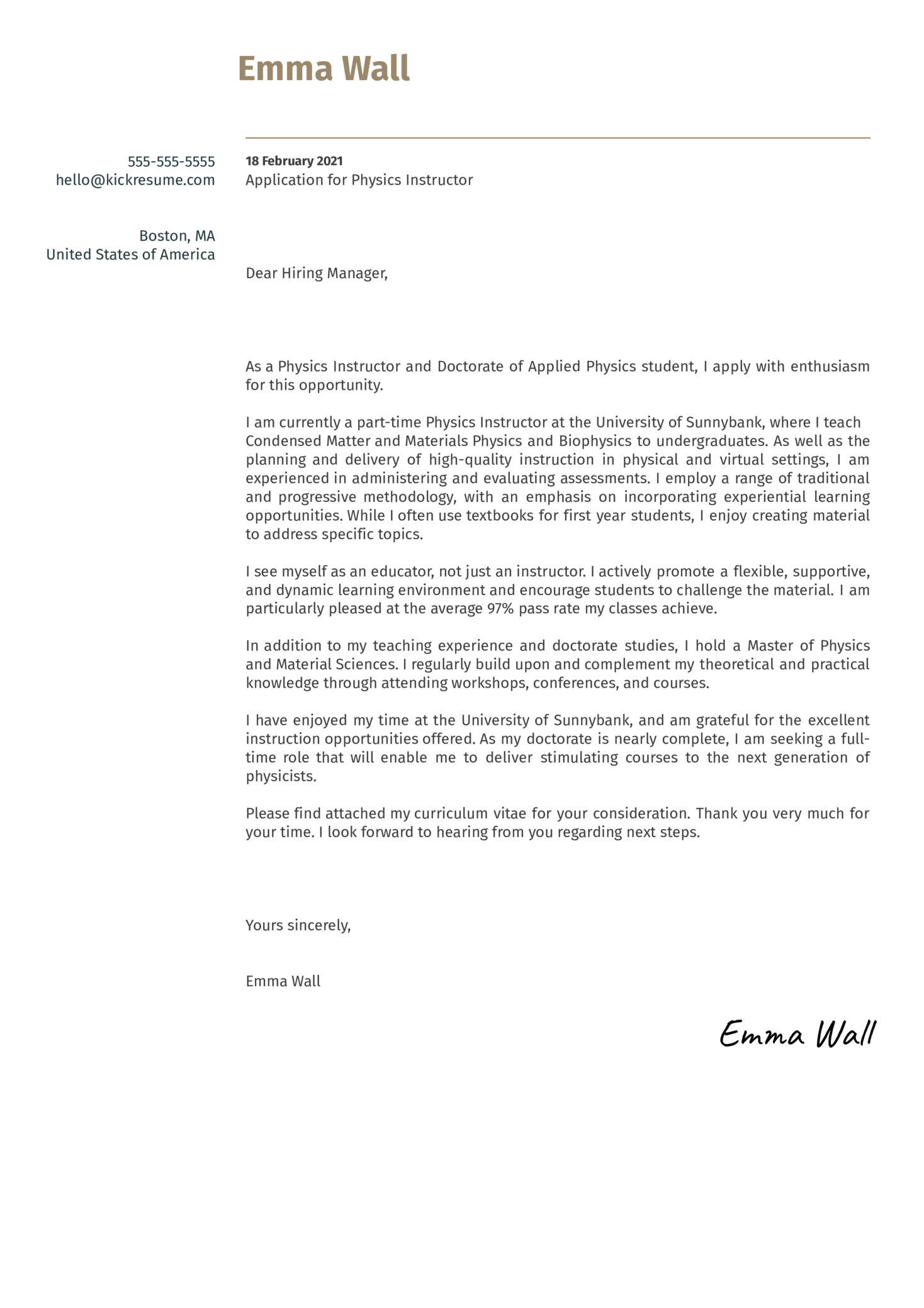 Physics Instructor Cover Letter Sample