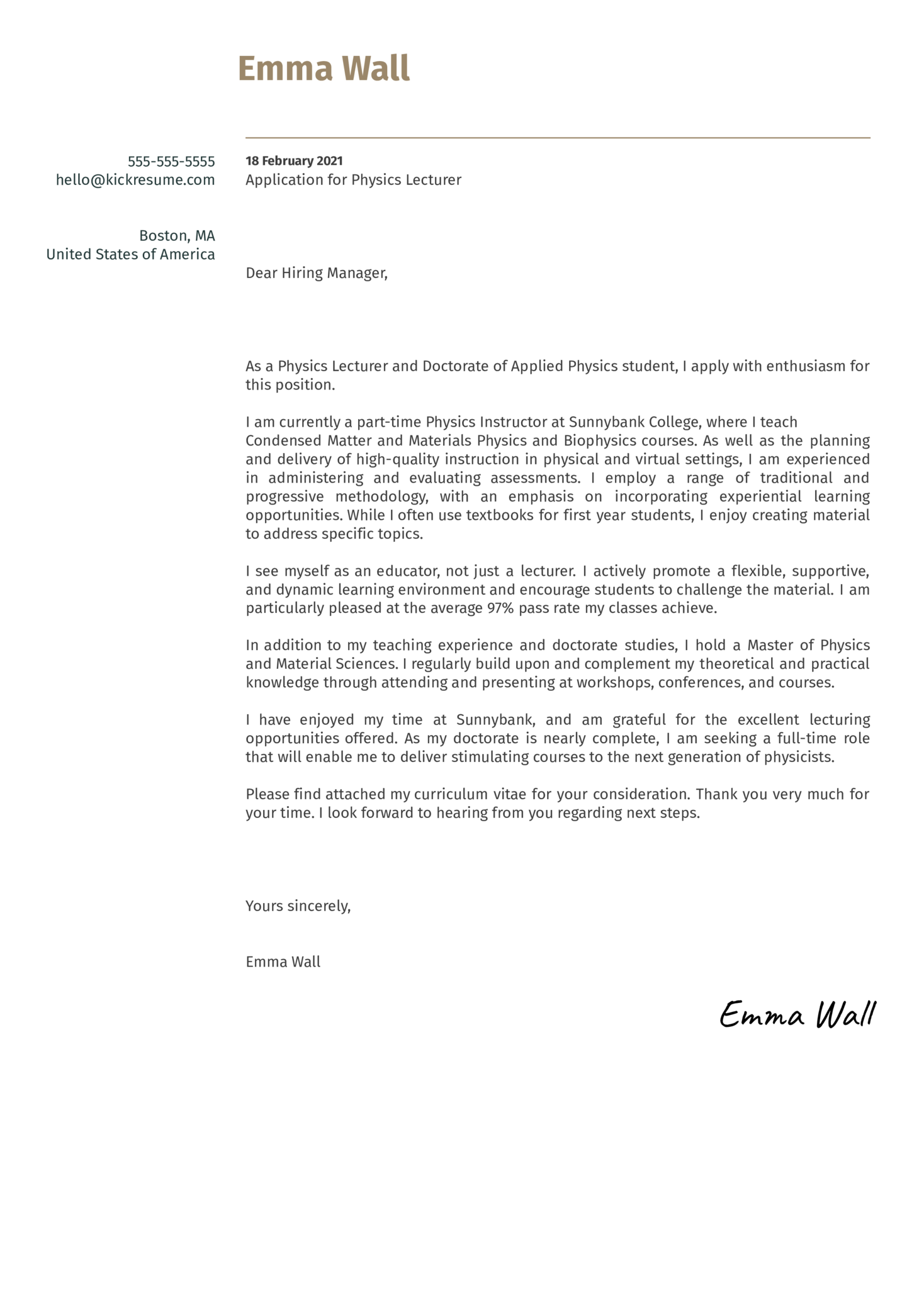 Physics Lecturer Cover Letter Sample
