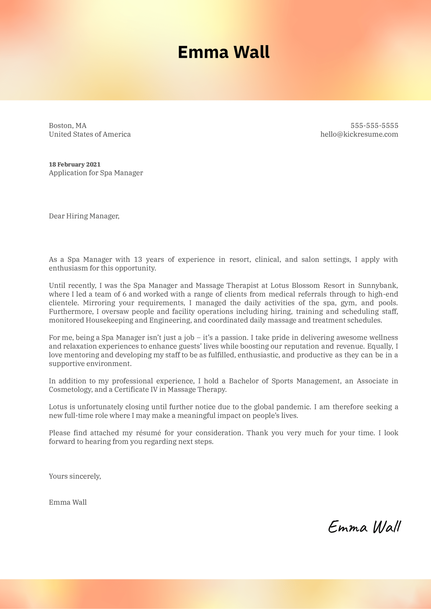 Spa Manager Cover Letter Template
