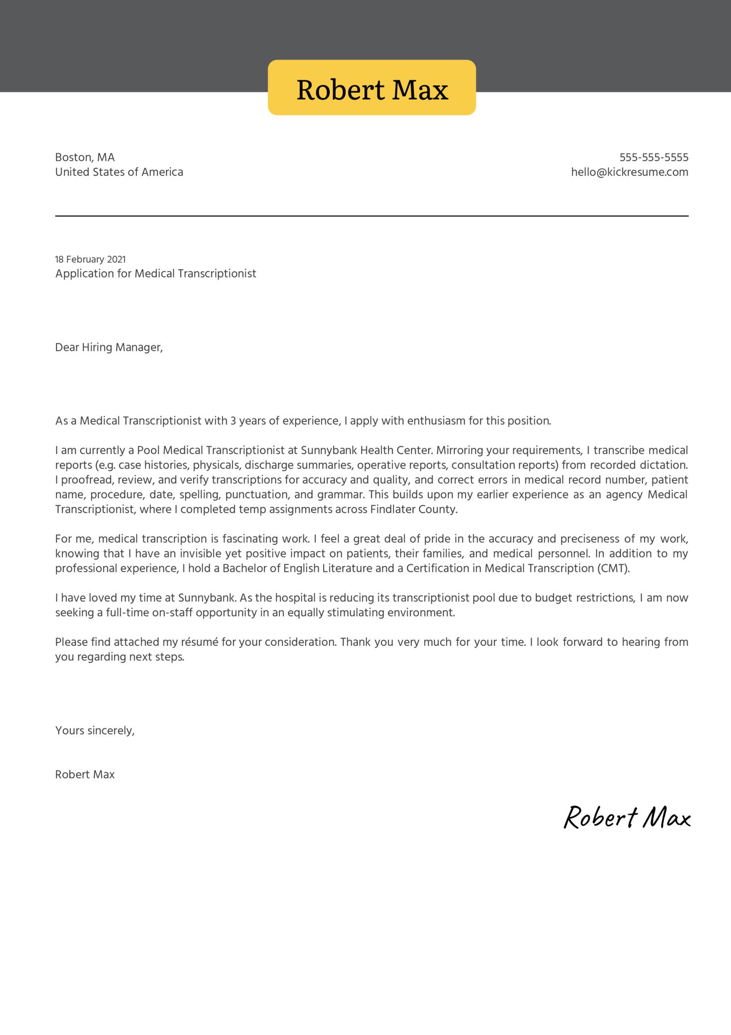 Medical Transcriptionist Cover Letter Sample