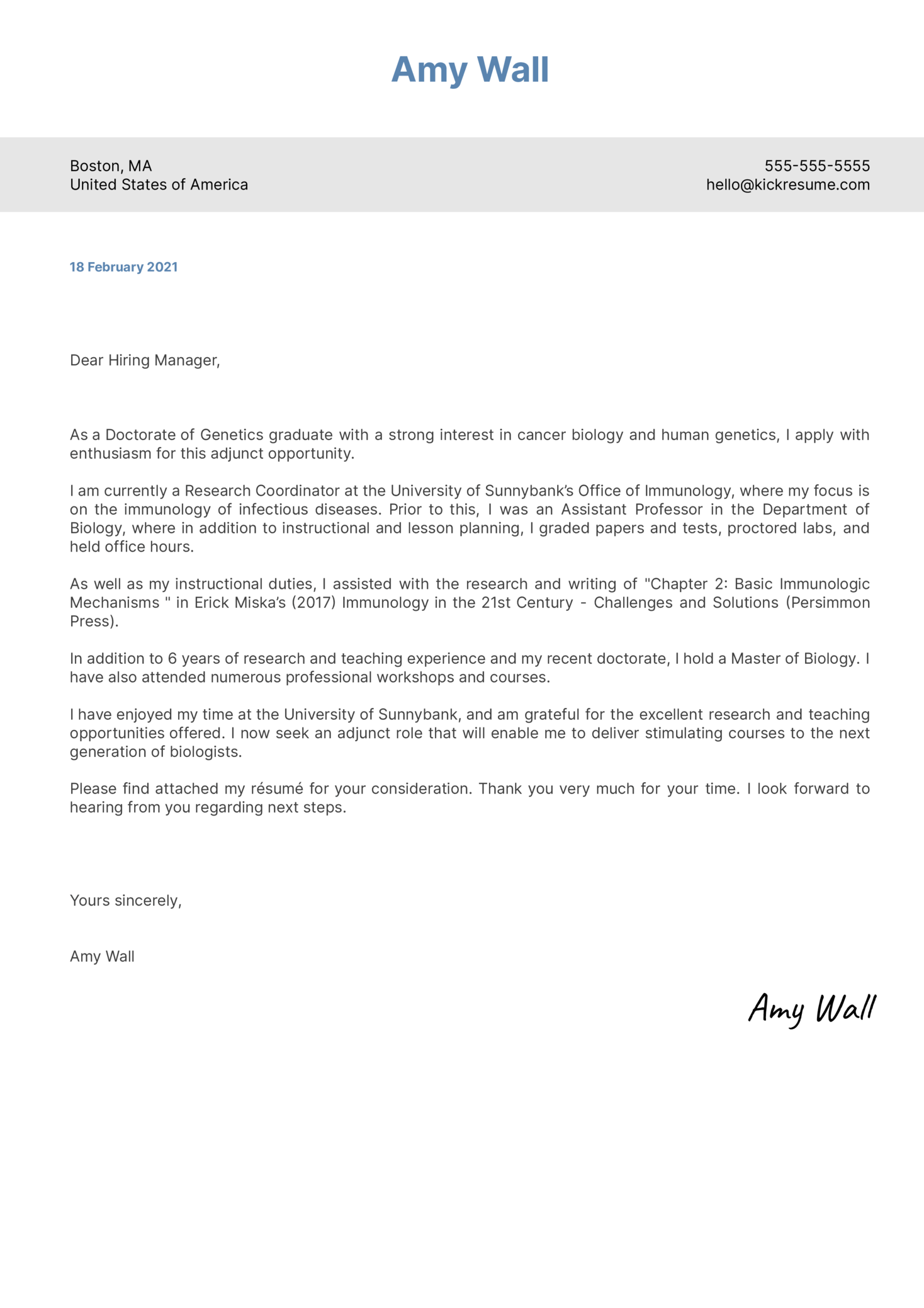 Adjunct Faculty Biology Cover Letter Example