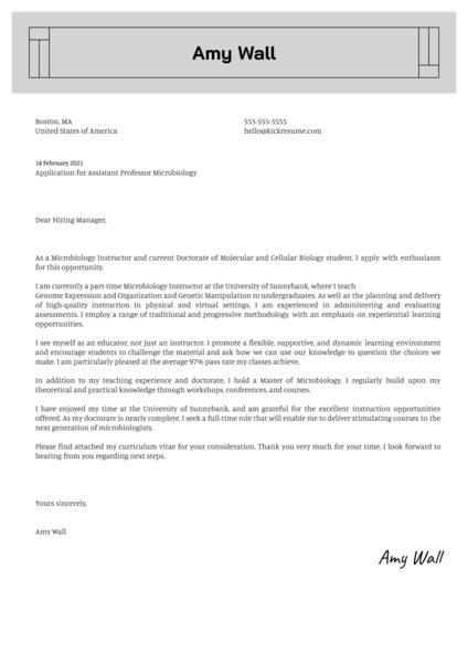 Assistant Professor Microbiology Cover Letter Sample