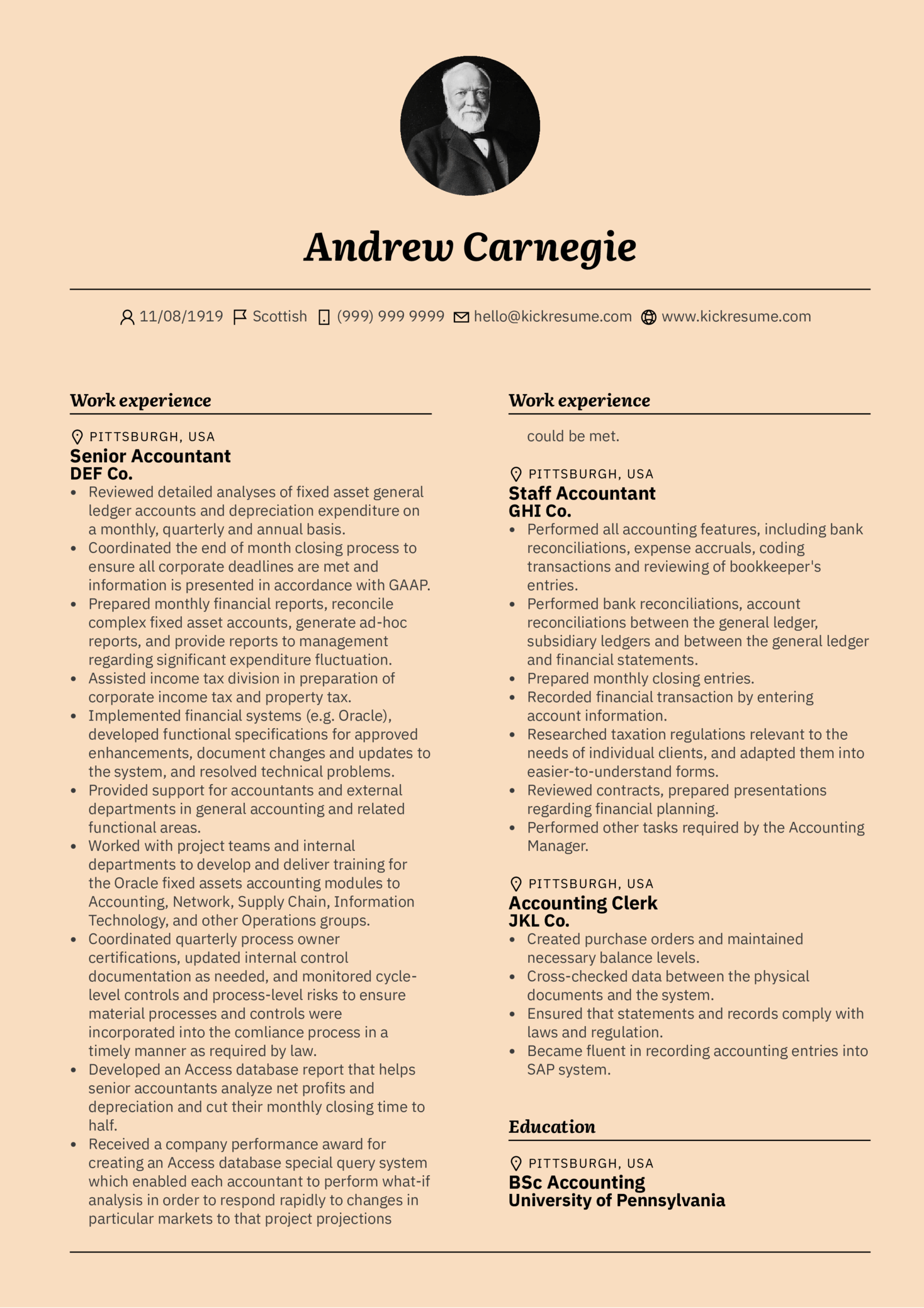 Senior Accountant Resume Sample Kickresume