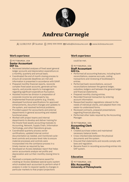 Senior Accountant CV Resume Example