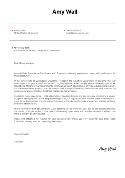 Athletic Compliance Coordinator Cover Letter Template