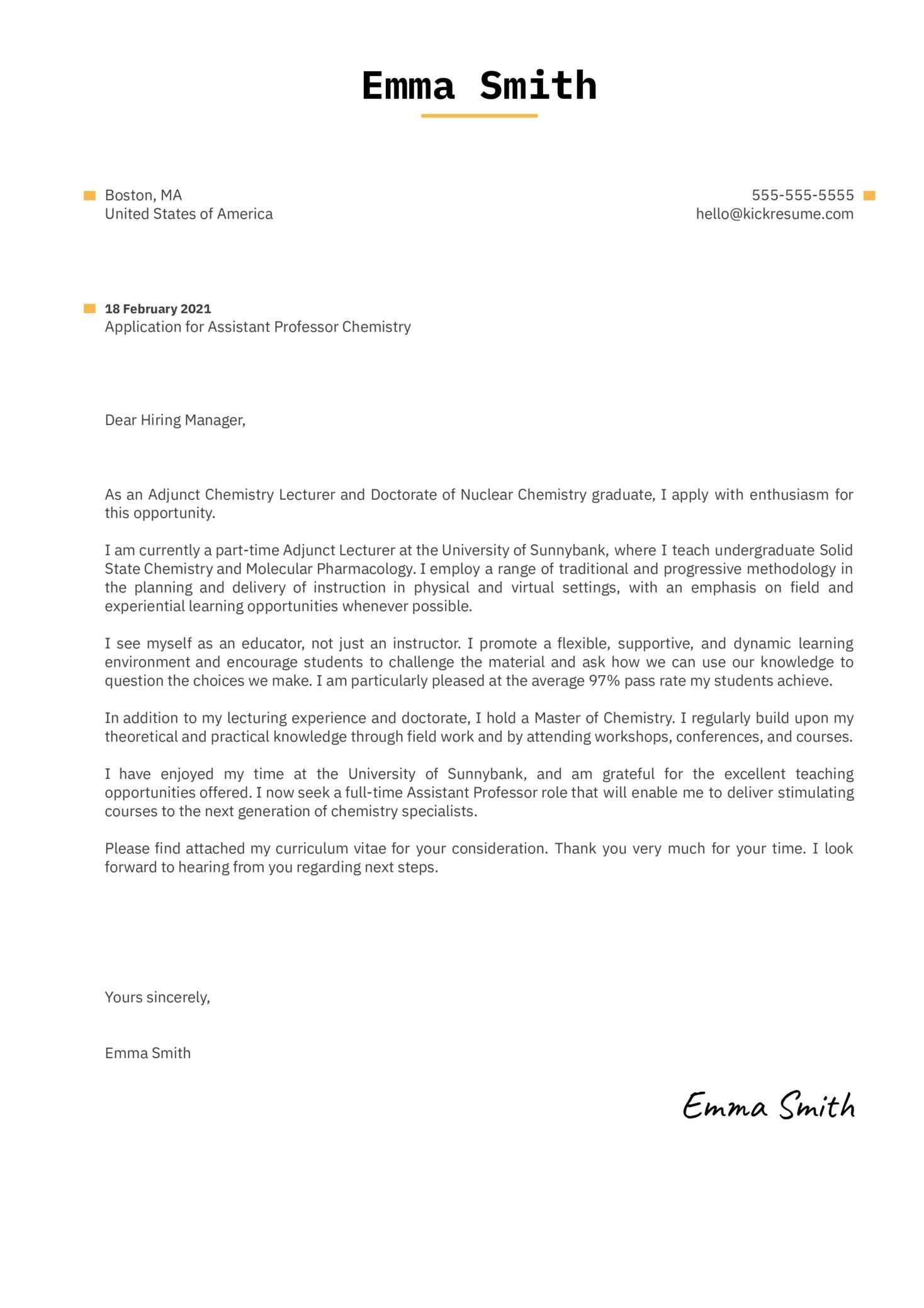 Assistant Professor Chemistry Cover Letter Sample