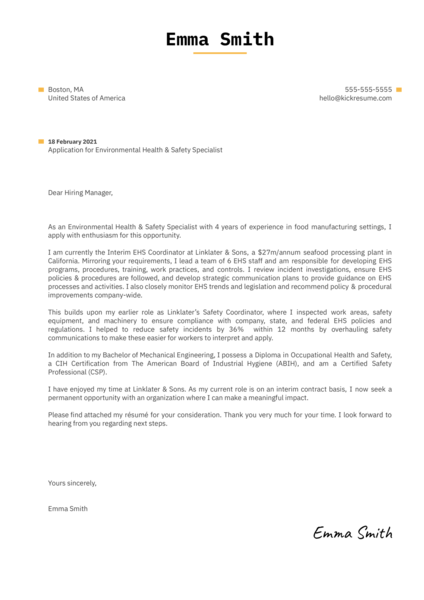 Environmental Health & Safety Specialist Cover Letter Template