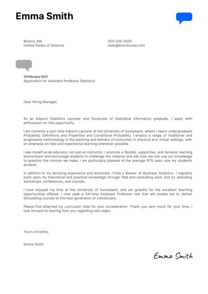 Assistant Professor Statistics Cover Letter Example