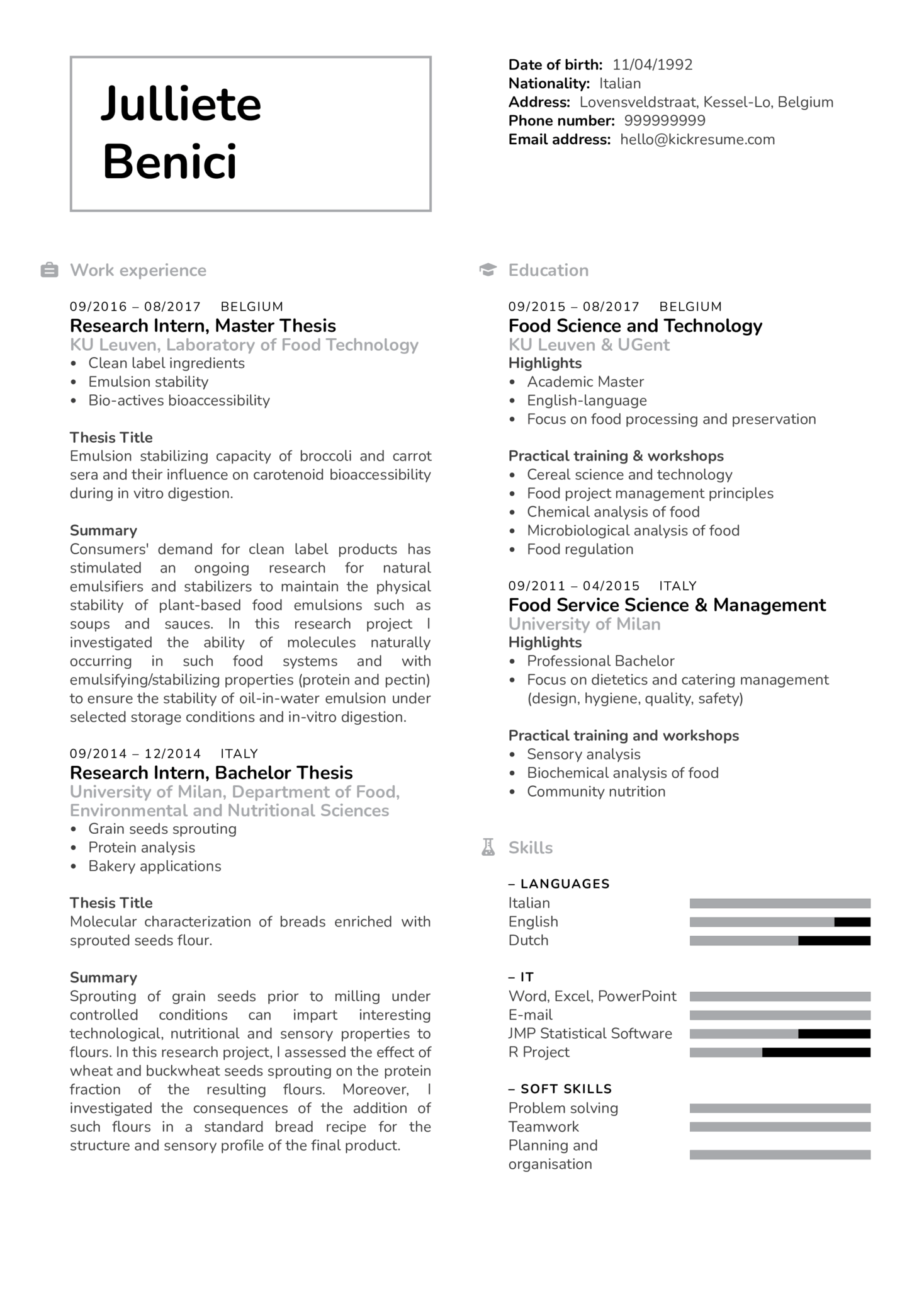 Quality Control Project Technician CV Example (Part 1)