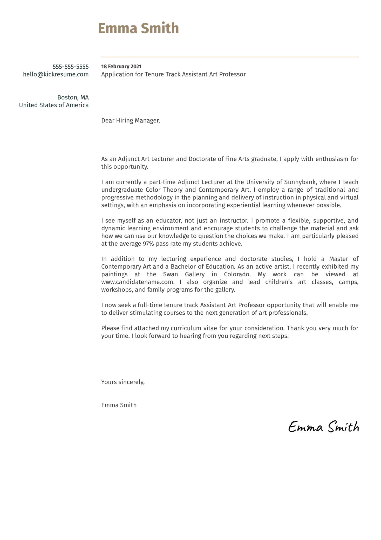 Tenure Track Assistant Art Professor Cover Letter Sample