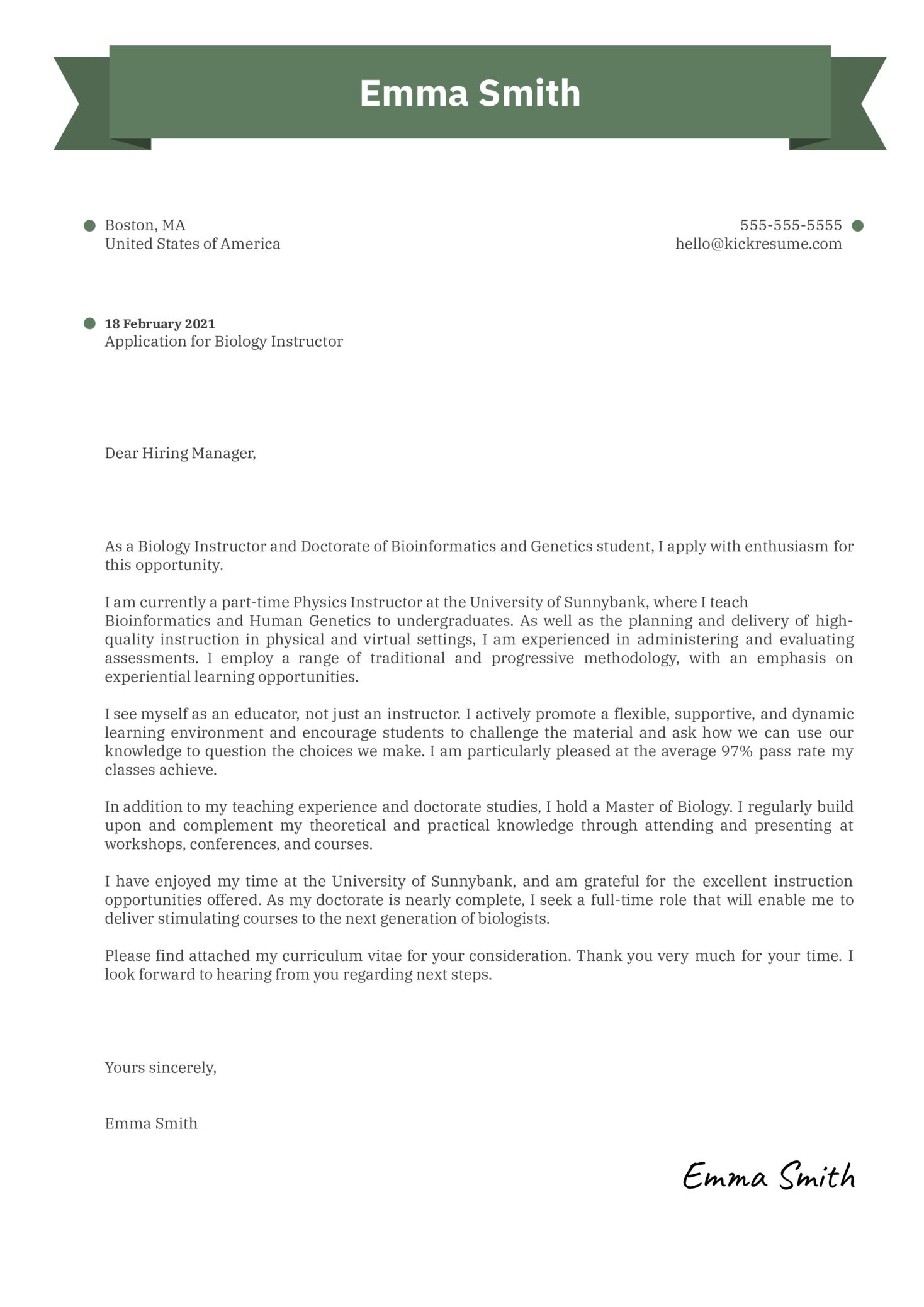 Biology Instructor Cover Letter Sample