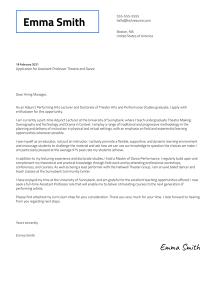 Assistant Professor Theatre and Dance Cover Letter Sample