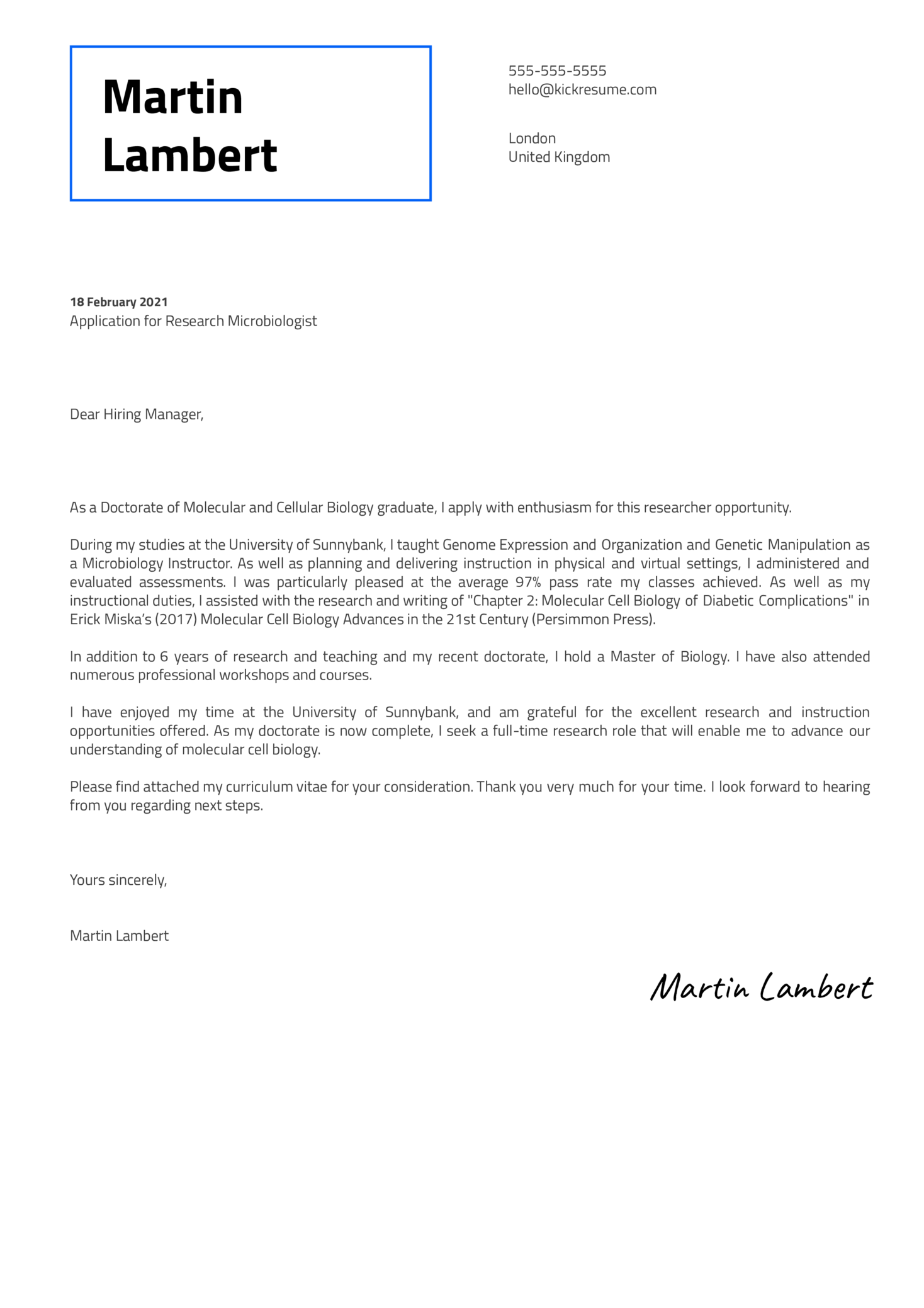 Research Microbiologist Cover Letter Sample