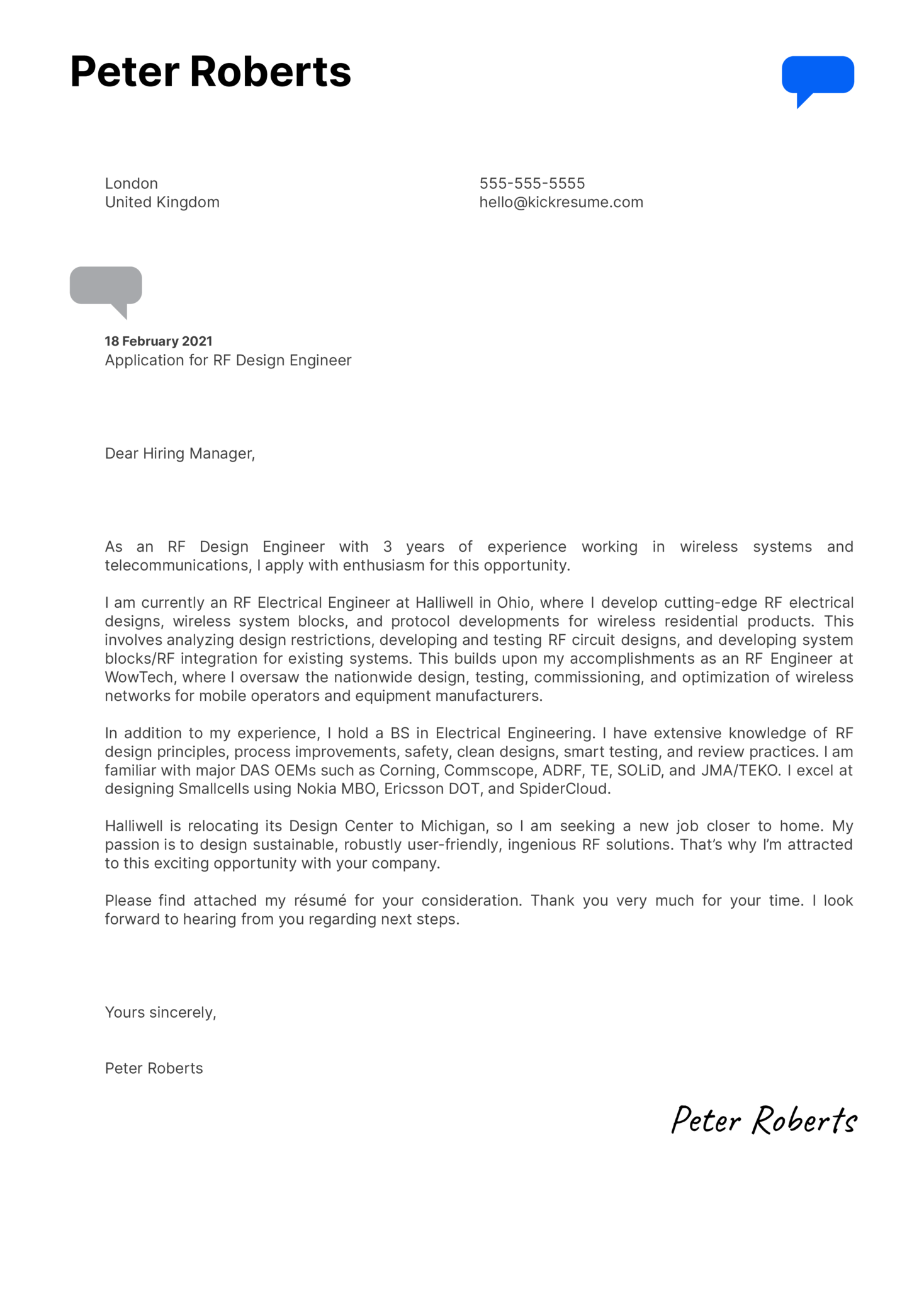 RF Design Engineer Cover Letter Sample