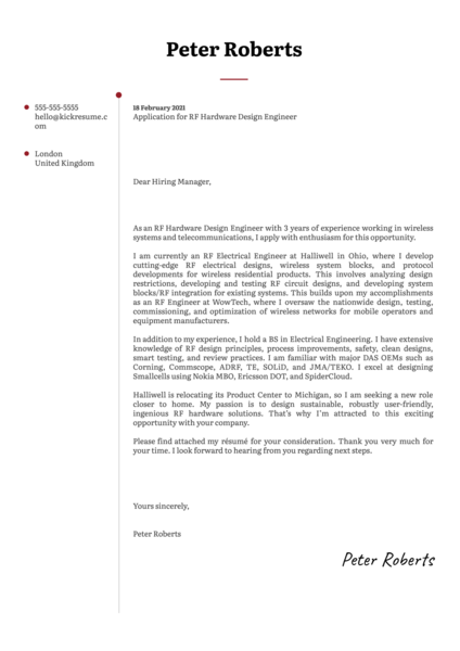 RF Hardware Design Engineer Cover Letter Sample