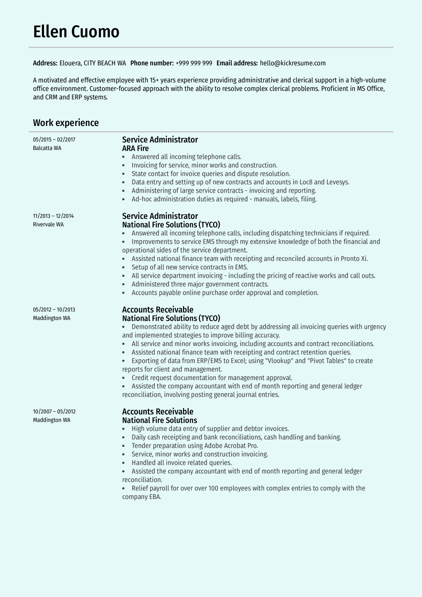 Service Administrator Resume Sample
