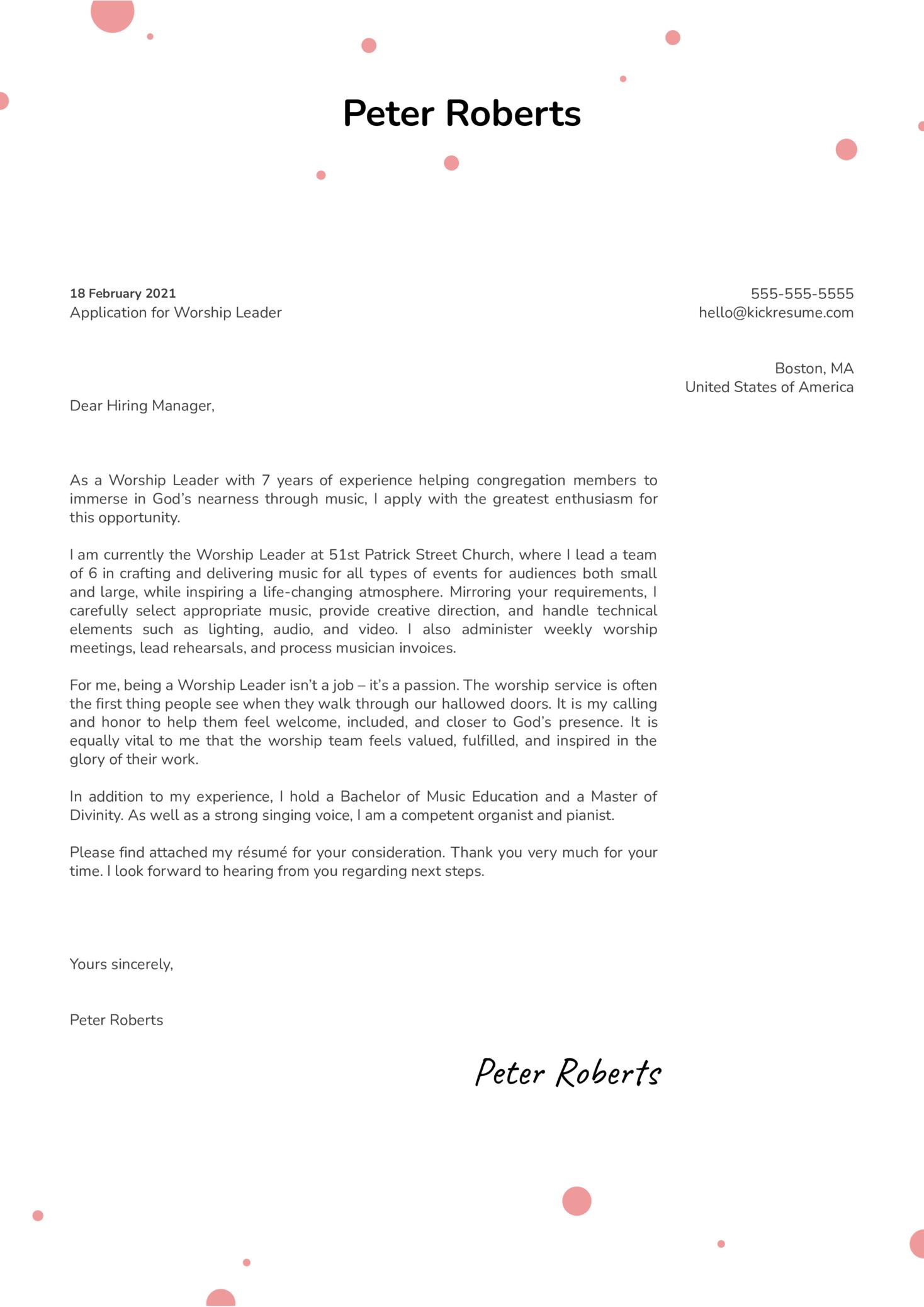Worship Leader Cover Letter Sample