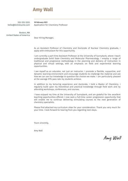 Chemistry Professor Cover Letter Example