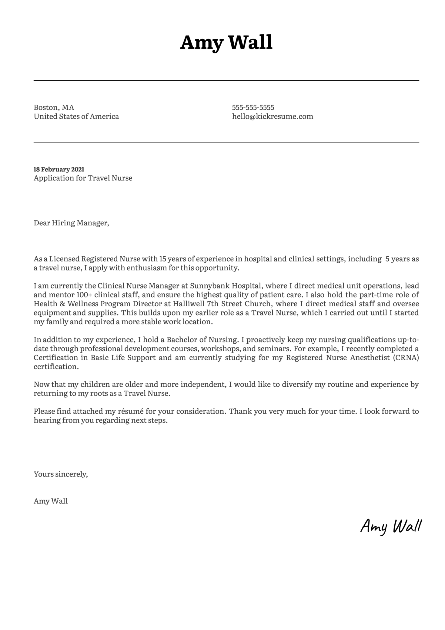 Travel Nurse Cover Letter Template