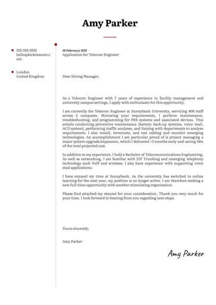Telecom Engineer Cover Letter Template