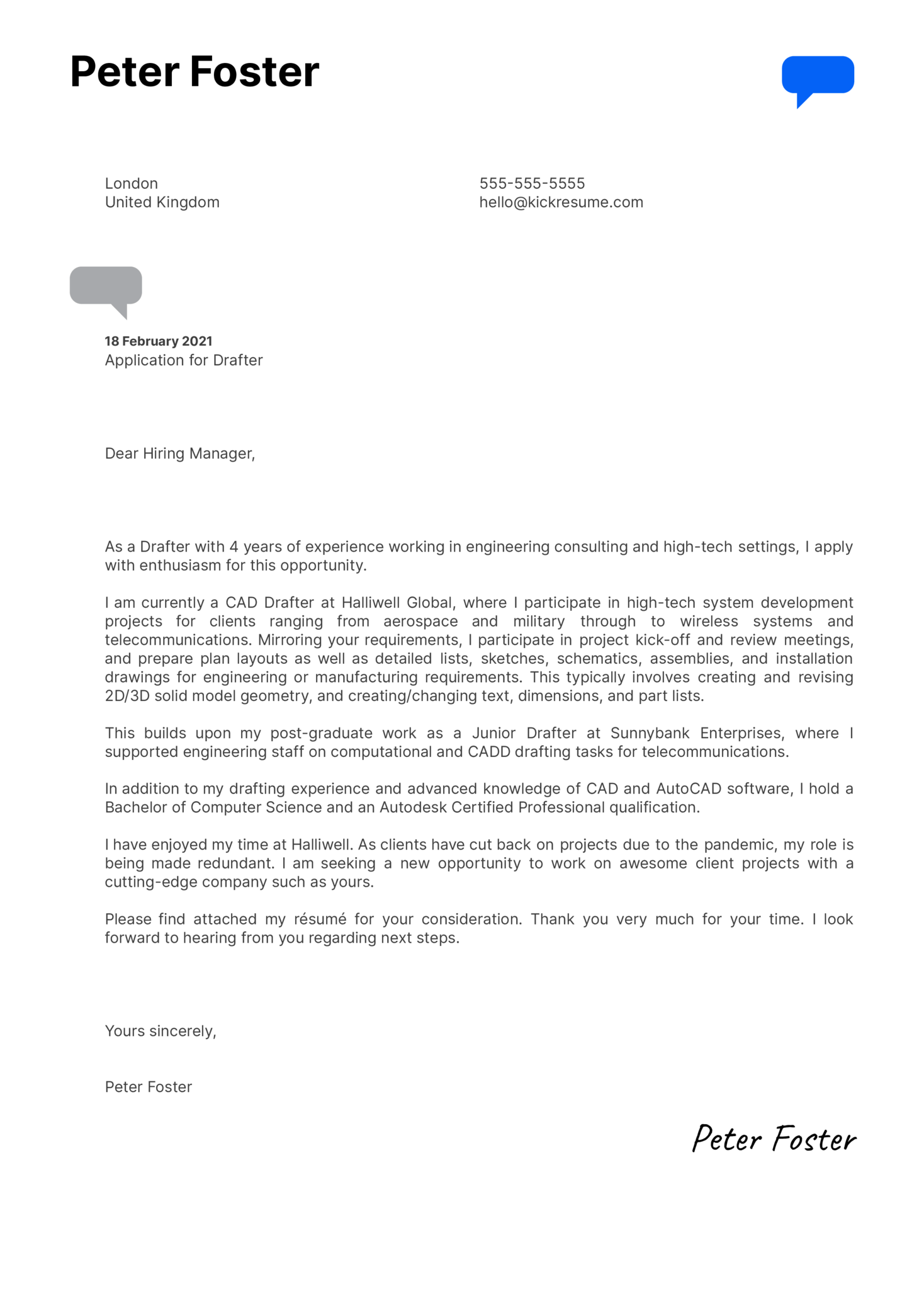 Drafter Cover Letter Sample