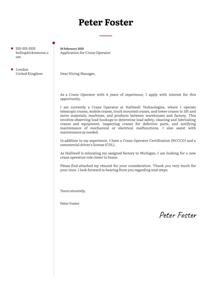 Crane Operator Cover Letter Sample