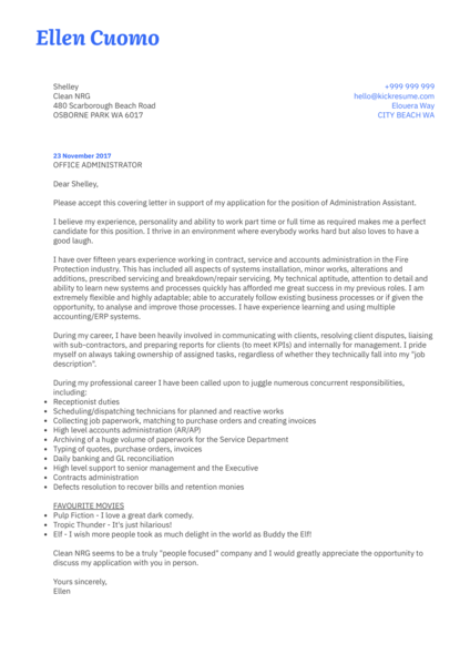 Service administrator cover letter sample