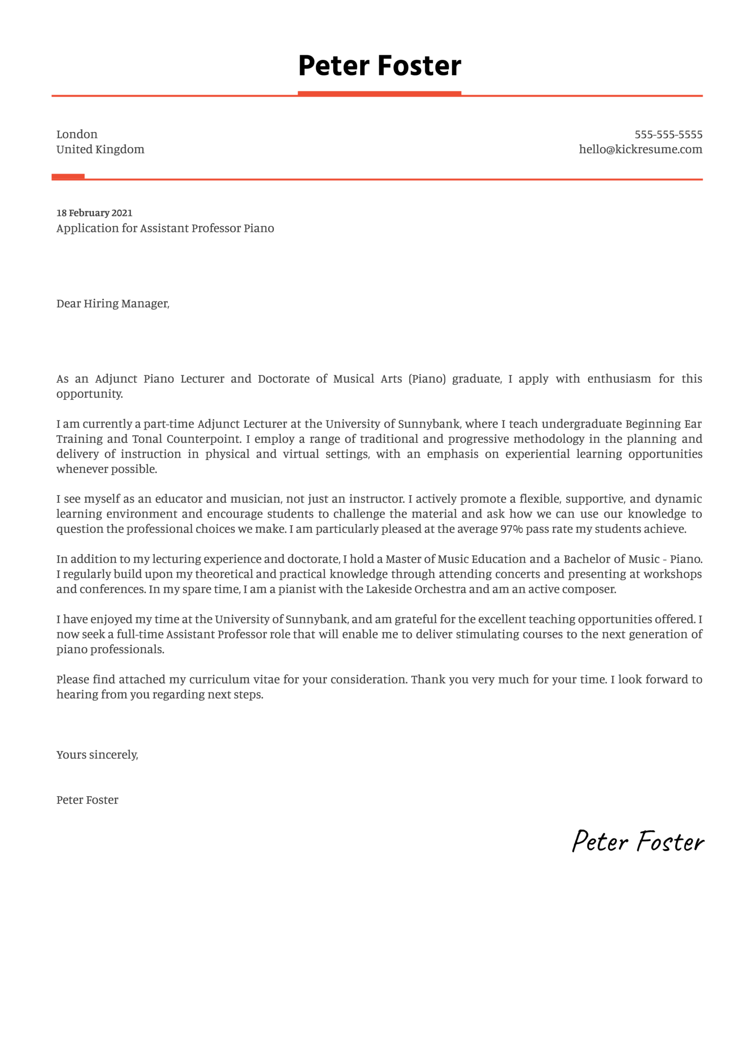 Assistant Professor Piano Cover Letter Example