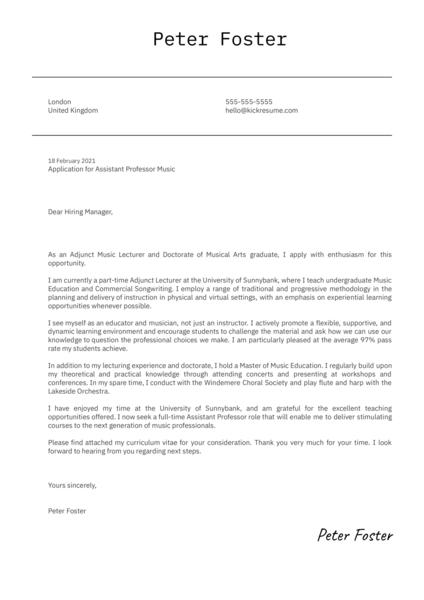 Assistant Professor Music Cover Letter Sample