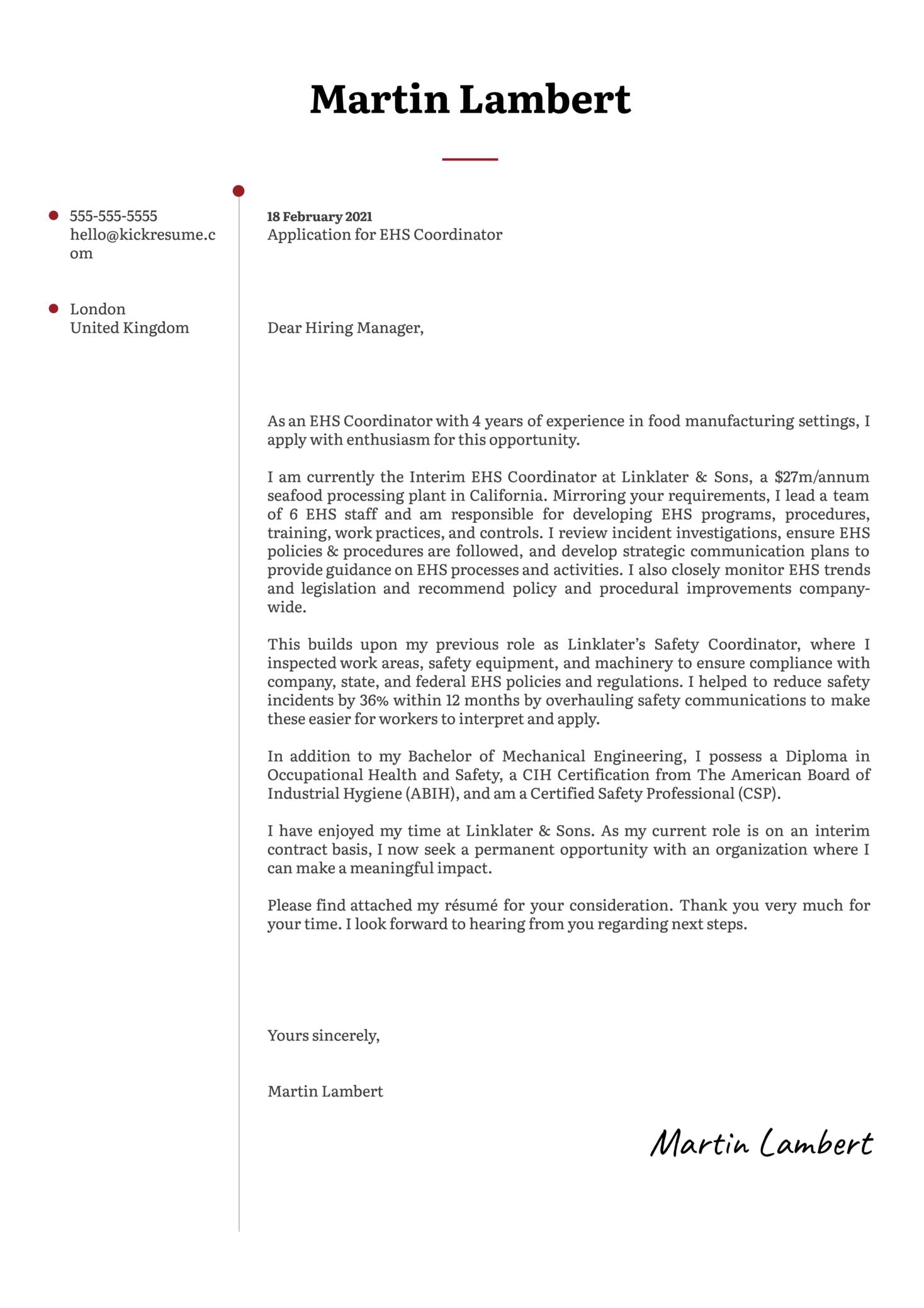 EHS Coordinator Cover Letter Sample