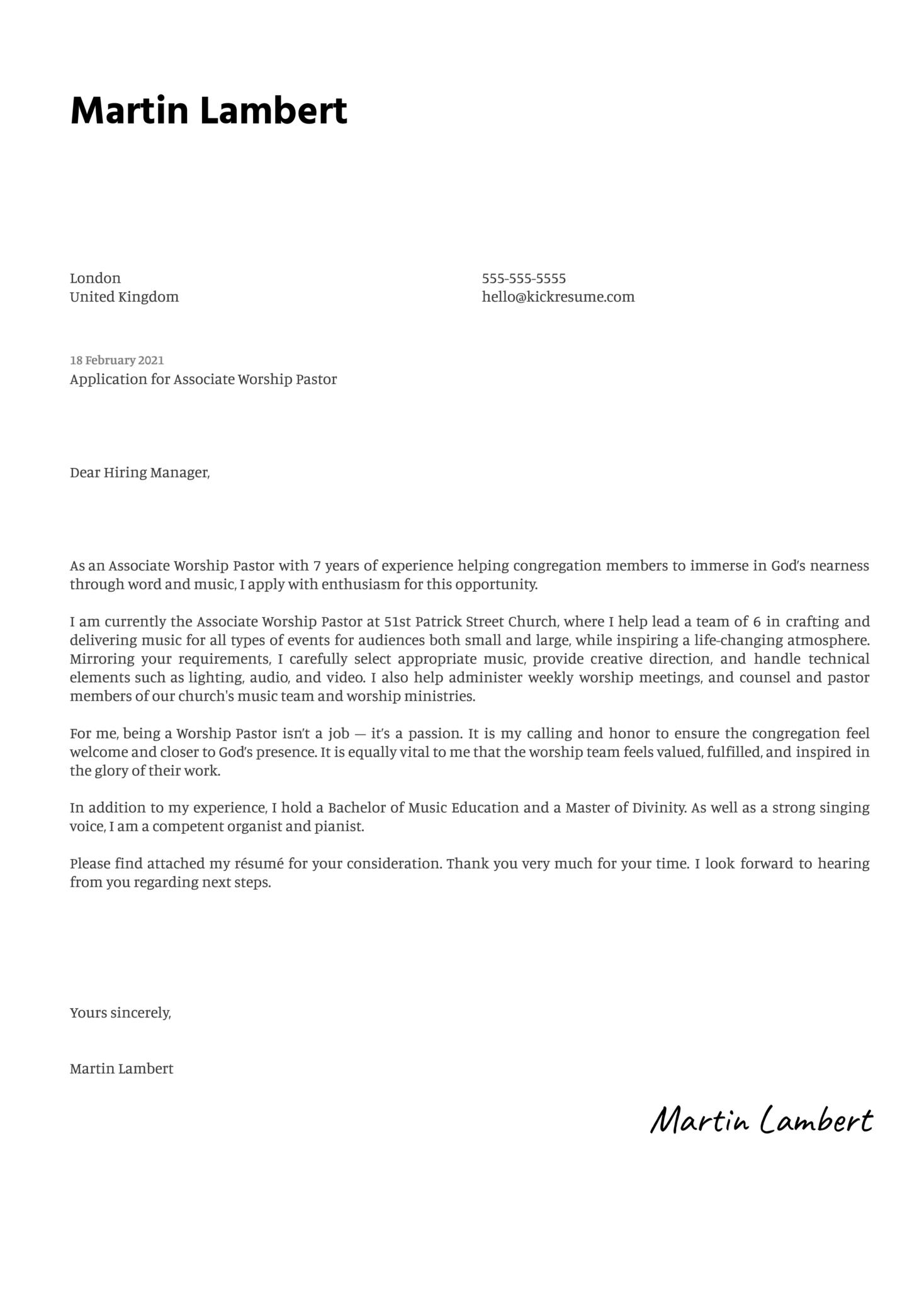 Associate Worship Pastor Cover Letter Template