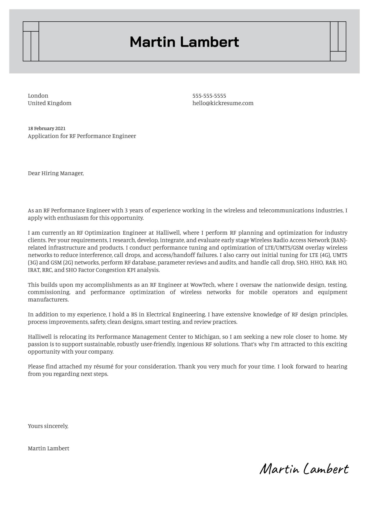 RF Performance Engineer Cover Letter Sample