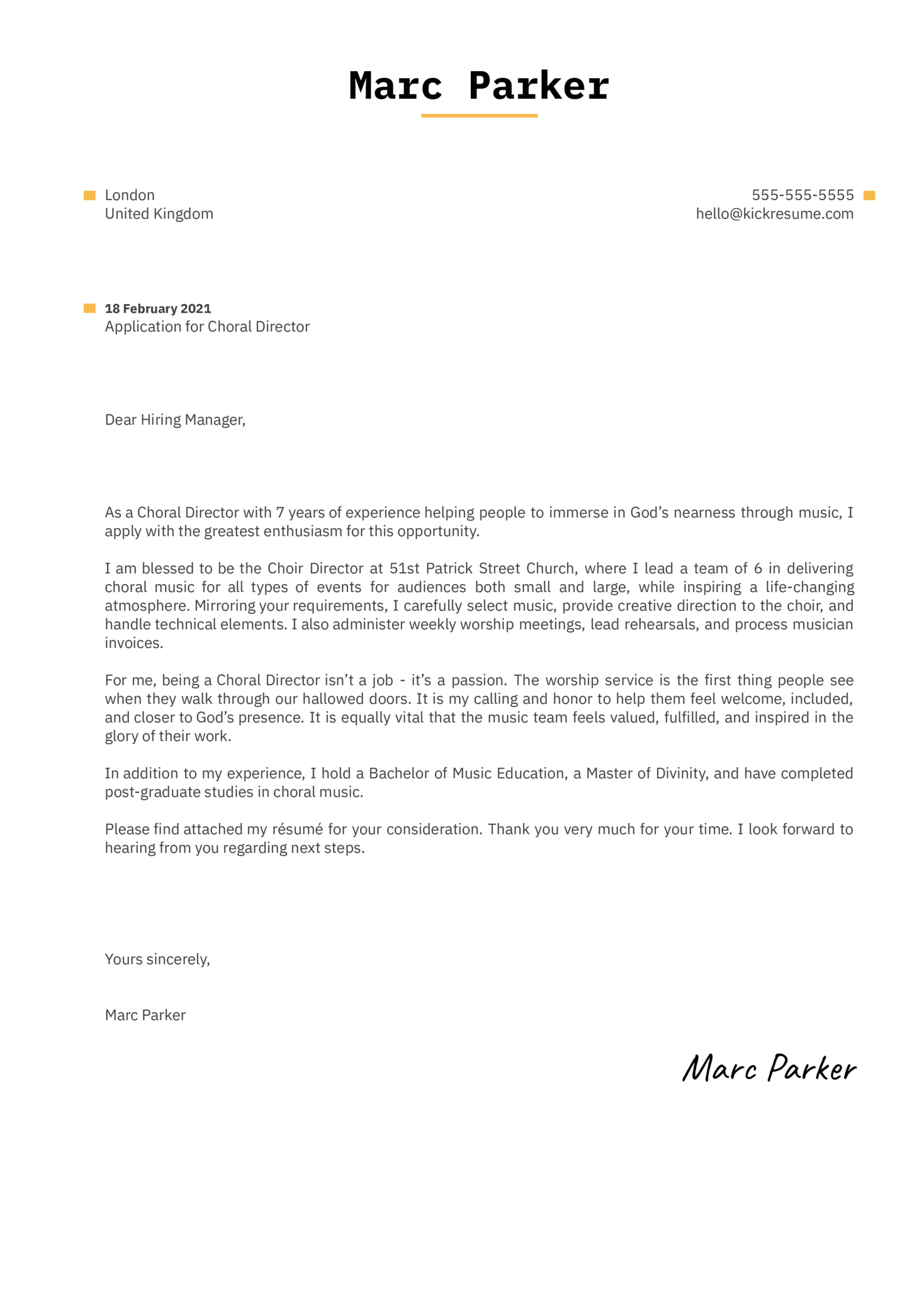 Choral Director Cover Letter Sample