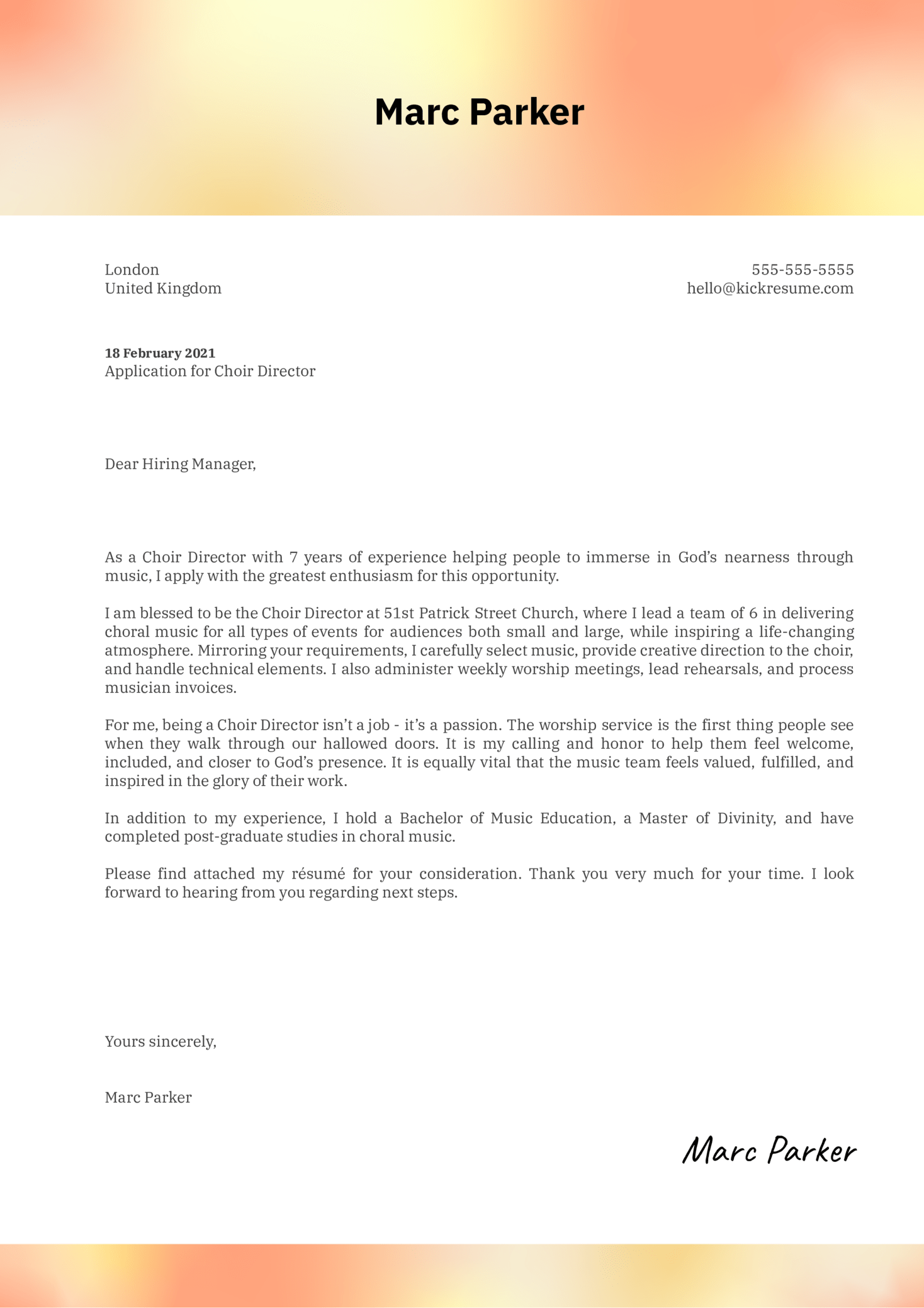 Choir Director Cover Letter Example