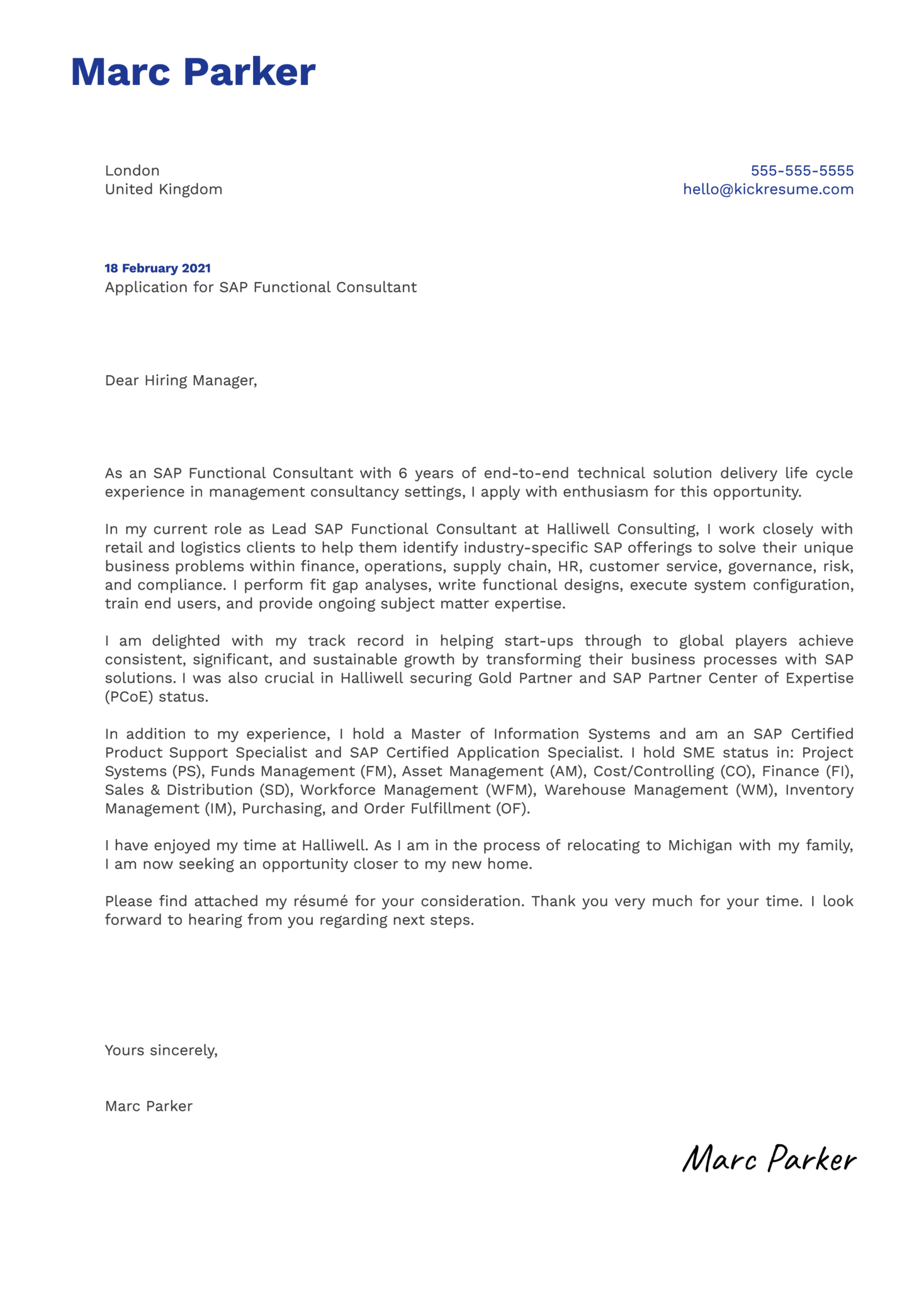 SAP Functional Consultant Cover Letter Example