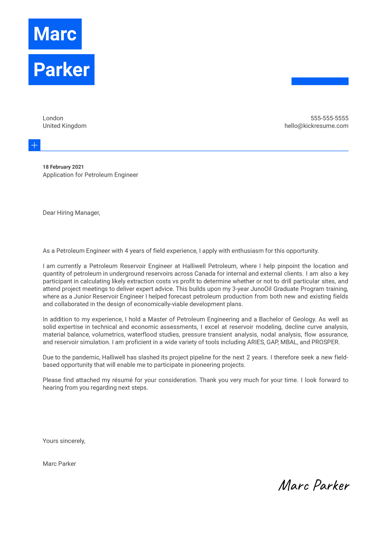 Petroleum Engineer Cover Letter Example