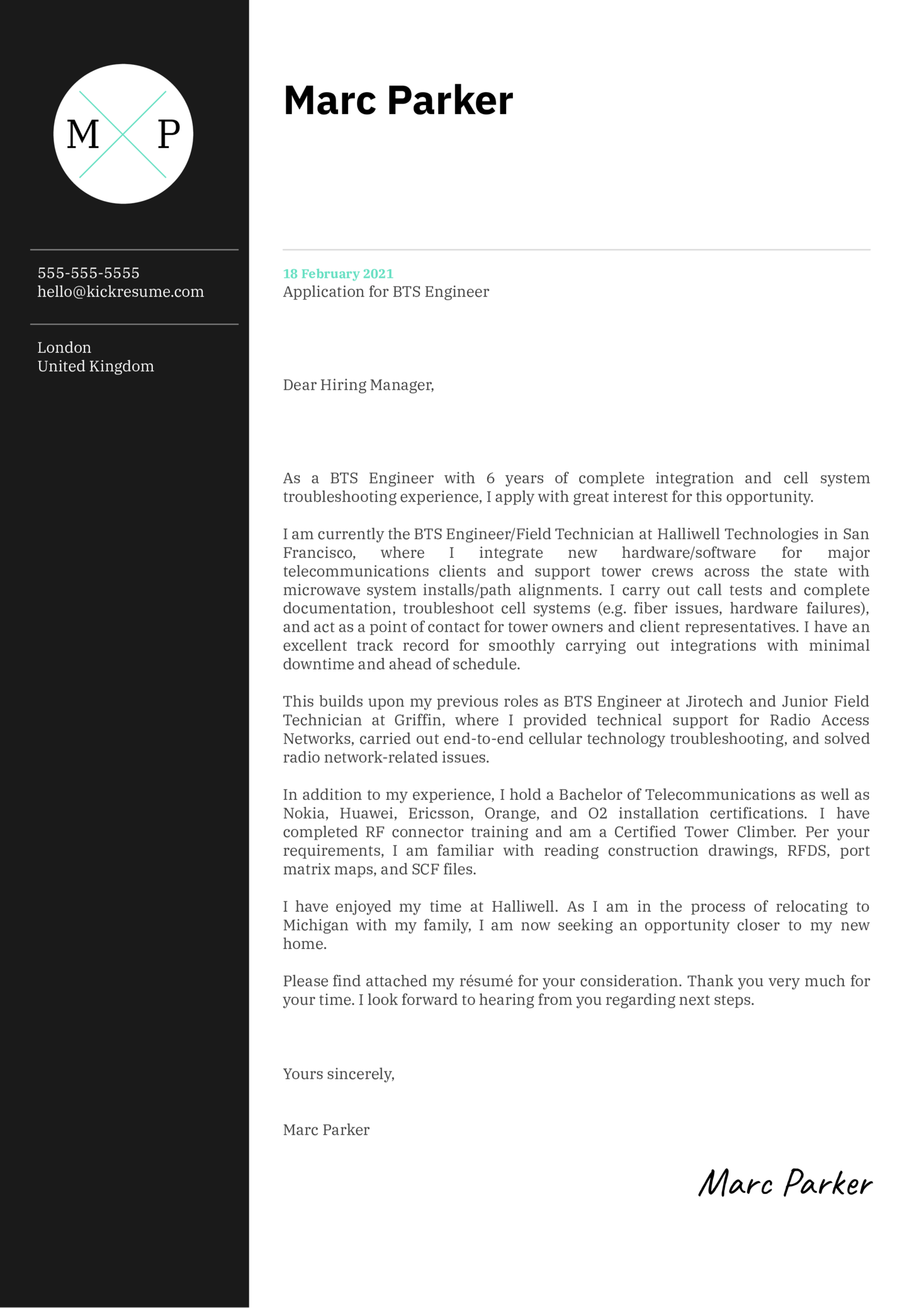 BTS Engineer Cover Letter Example