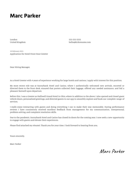 Hotel Front Door Greeter Cover Letter Template