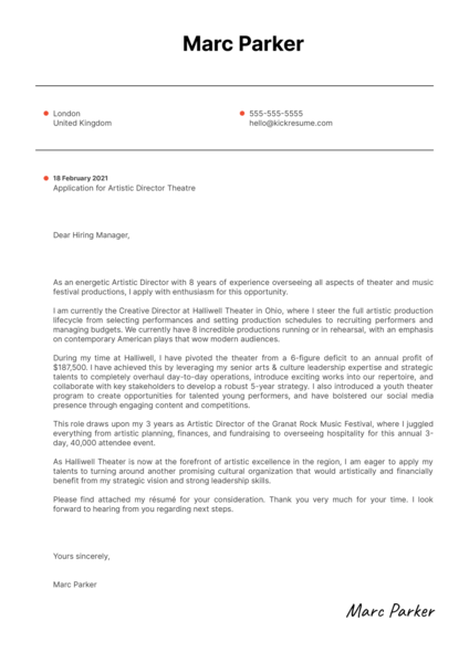 Artistic Director Theatre Cover Letter Example