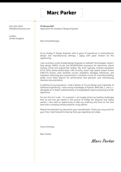 Analog IC Design Engineer Cover Letter Sample