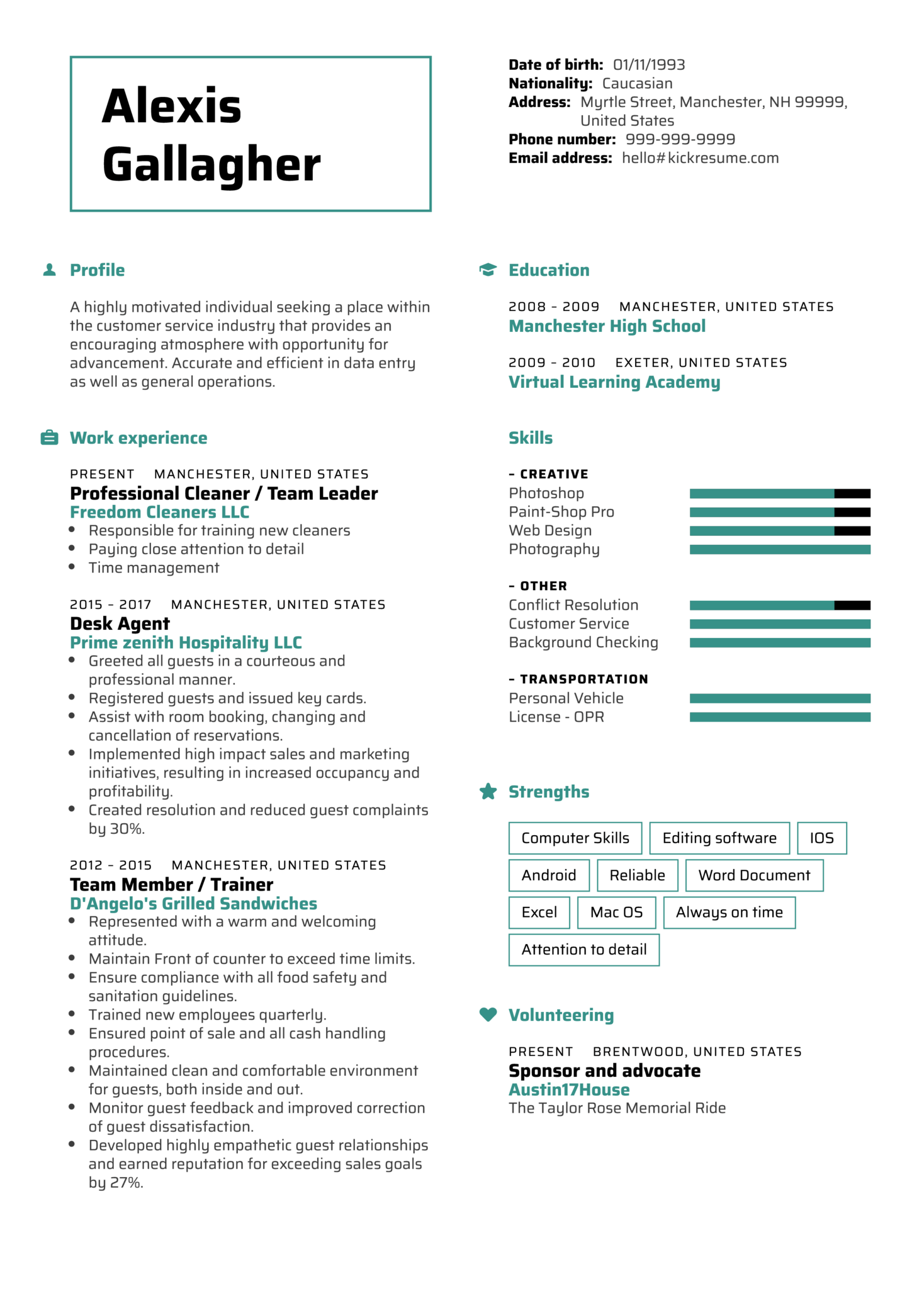 resume examples by real people  hilton front desk resume