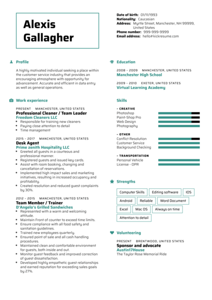 Hilton front desk resume sample